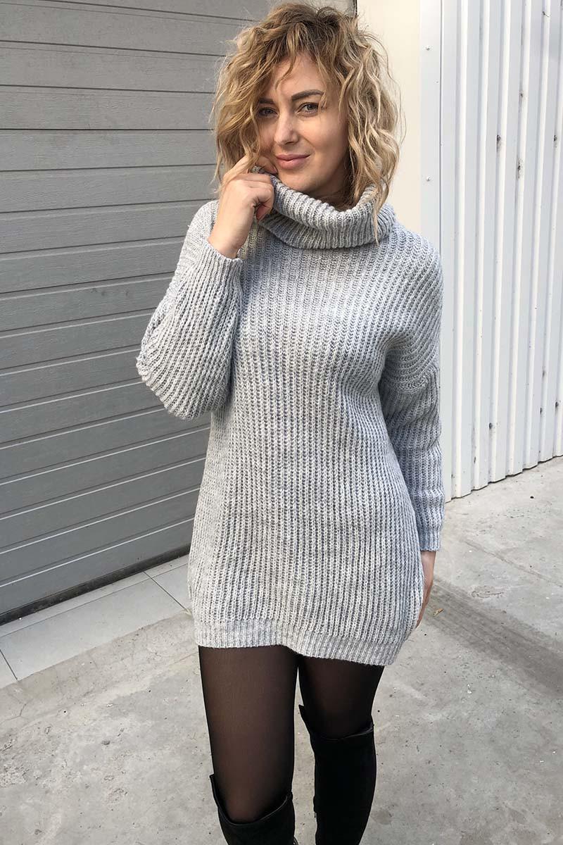 Объемный свитер-туника LUREX - серый цвет, S (есть размеры)