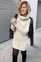 Объемный свитер-туника LUREX - молочный цвет, S (есть размеры)