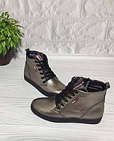Женские демисезонные ботинки со шнурком из натуральной кожи