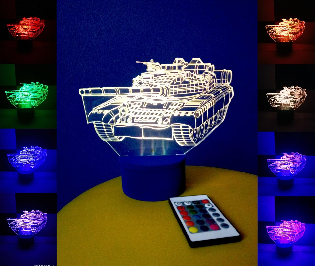 3d-светильник Танк, 3д-ночник, несколько подсветок (на пульте), подарок военному мальчику танкисту