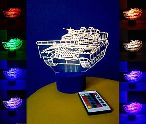 3d-світильник Танк, 3д-нічник, кілька підсвічувань (на пульті)