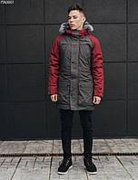 Куртка парка мужская зимняя Staff wind grafit and red