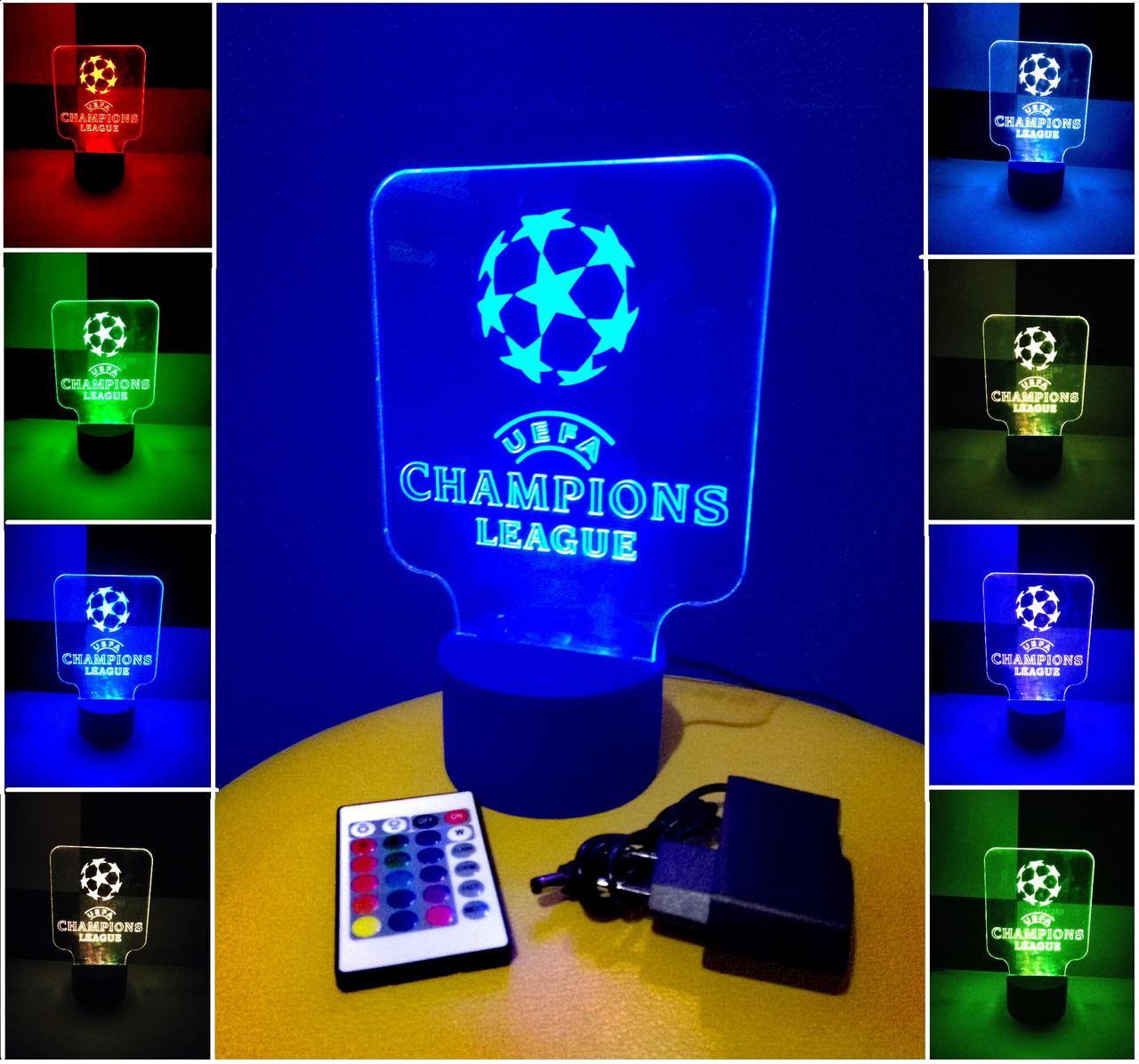 3d-светильник Лига Чемпионов (лого), 3д-ночник, несколько подсветок (на пульте), подарок для футболиста