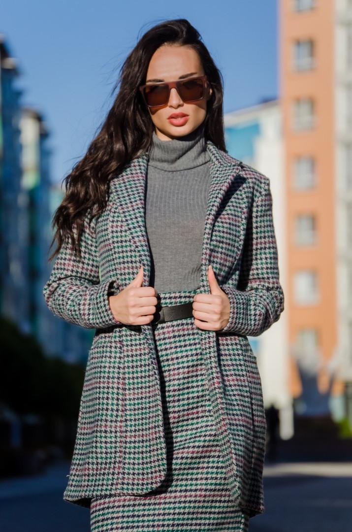 Удлиненный пиджак, пояс в комплекте, ткань шерсть костюмная.  Размер: С(42-44)М(44-46). Цвет:серый. (154)