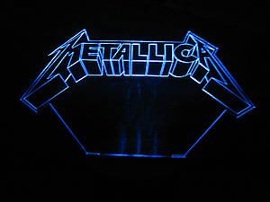 3d-светильник Металлика, Metallica, 3д-ночник, несколько подсветок (батарейка+220В), подарок для музыканта