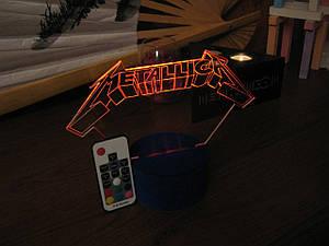 3d-светильник Металлика, Metallica, 3д-ночник, несколько подсветок (на пульте), подарок для рок музыканта