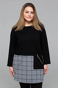 Комбинированная туника с карманом ЖАННА черная #O/V