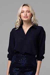 Блуза с отложным воротником PERI темно-синяя #O/V
