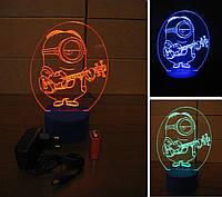 3d-светильник Миньон-гитарист, 3д-ночник, несколько подсветок (батарейка+220В))
