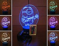 3d-светильник Миньон-гитарист, 3д-ночник, несколько подсветок (на пульте)