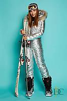 Стильный лыжный Костюм женский   из плащевой водоотталкивающей ткани Р 2189 Серебро