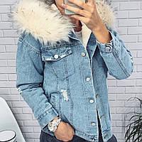 Теплая джинсовая куртка с мехом