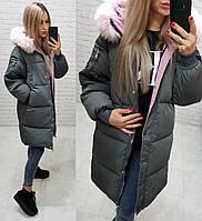 Женское зимнее пальто Аkademy ткань плащевка мэмори наполнитель холлофайбер 300 цвет серый