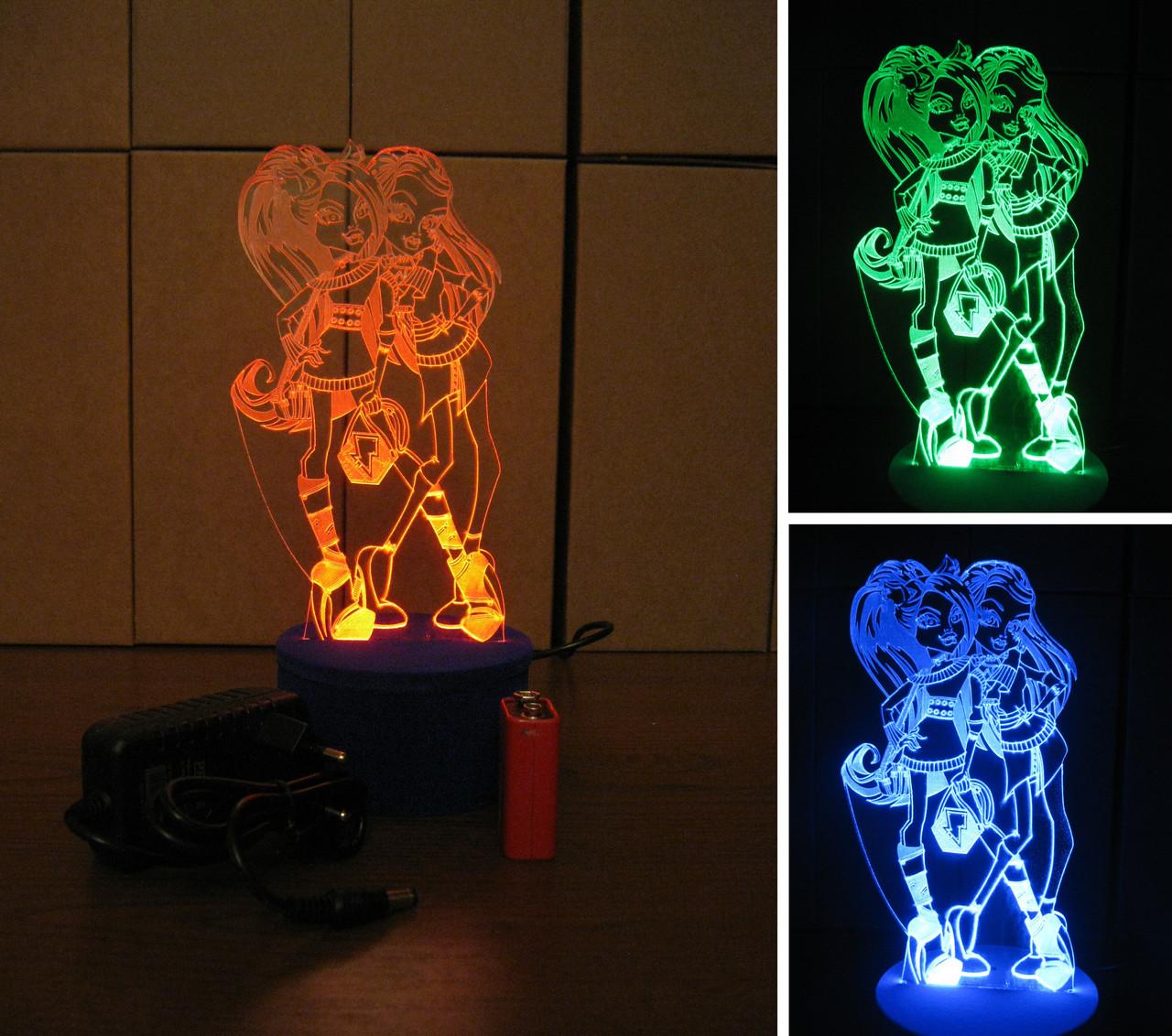3d-светильник Монстр Хай, 3д-ночник, несколько подсветок (батарейка+220В), подарок для девочки