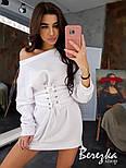 Женское стильное худи на флисе с поясом-корсетом (в расцветках), фото 3