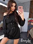 Женское стильное худи на флисе с поясом-корсетом (в расцветках), фото 2