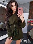 Женское стильное худи на флисе с поясом-корсетом (в расцветках), фото 4