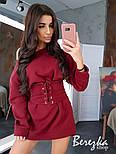 Женское стильное худи на флисе с поясом-корсетом (в расцветках), фото 7