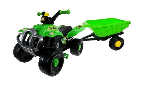 Детский квадроцикл на педалях с прицепом