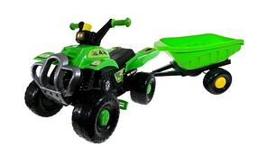 Детский квадроцикл на педалях с прицепом, фото 2