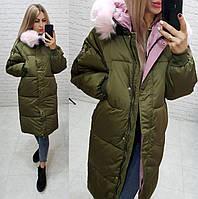 Женское зимнее пальто Аkademy ткань плащевка мэмори наполнитель холлофайбер 300 цвет хаки