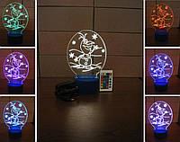 3d-светильник Олаф, Frozen, 3д-ночник, несколько подсветок (на пульте)