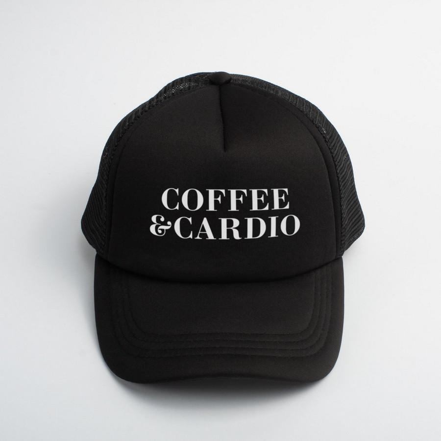 """🔥 Кепка черная с надписью """"Coffee and cardio"""". Оригинальный принт на кепке"""