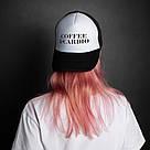 """🔥 Кепка черная с надписью """"Coffee and cardio"""". Оригинальный принт на кепке, фото 2"""