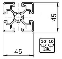 Станочный профиль 45х45 анод