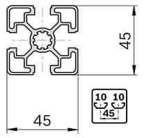 Станочный профиль T-track 45х45 анод