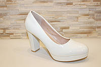 Туфли женские белые на каблуке Т365