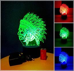 3d-светильник Индеец, 3д-ночник, несколько подсветок (батарейка+220В)