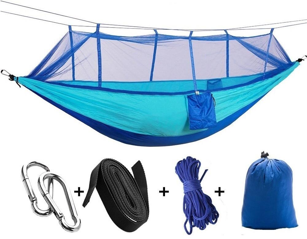 Гамак садовый с антимоскитной сеткой. Цветной подвесной гамак, Туристический гамак голубой с синим