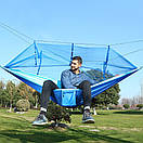 Гамак садовый с антимоскитной сеткой. Цветной подвесной гамак, Туристический гамак голубой с синим, фото 4