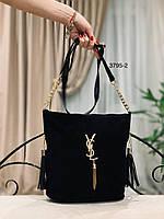 Женская сумка- мешок  из натуральной замши( лицевая сторона ) и кож зама с разными логотипами