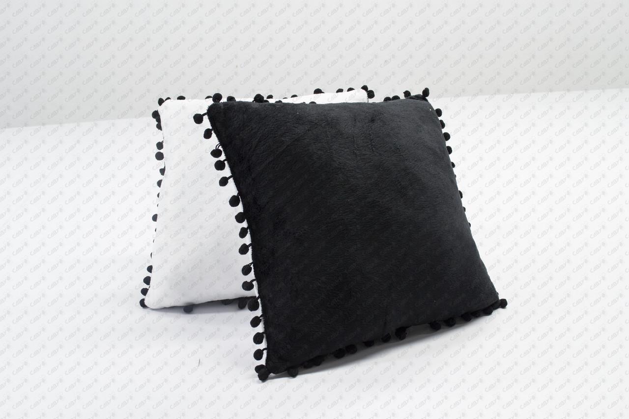 Подушка квадрат 35см. білий/ чорний плюшева з помпонами для сублімації від виробника Україна