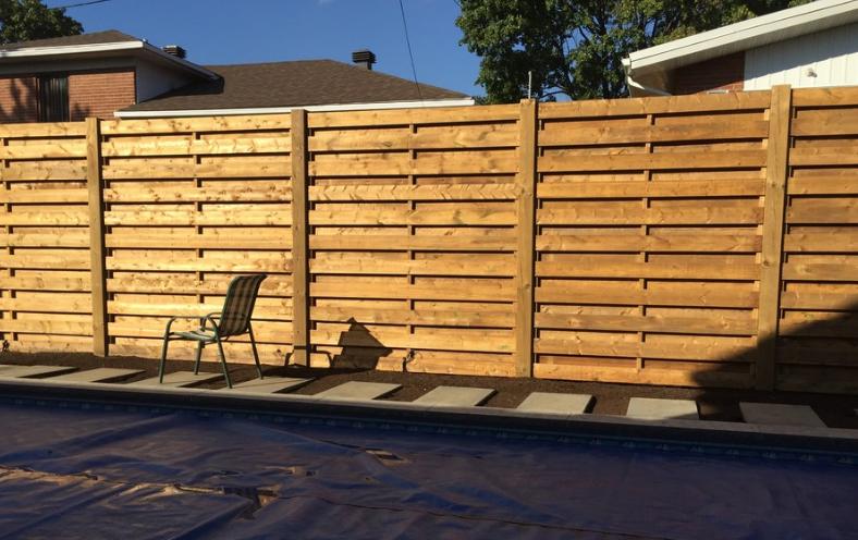 Заборы деревянные из сосны 2000х1700 мм (L=2000,H=1700) «Горизонтальный штакетник»