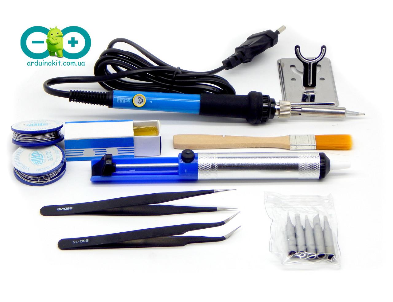 Паяльник электрический + отсос для припоя + 2 пинцета + олово