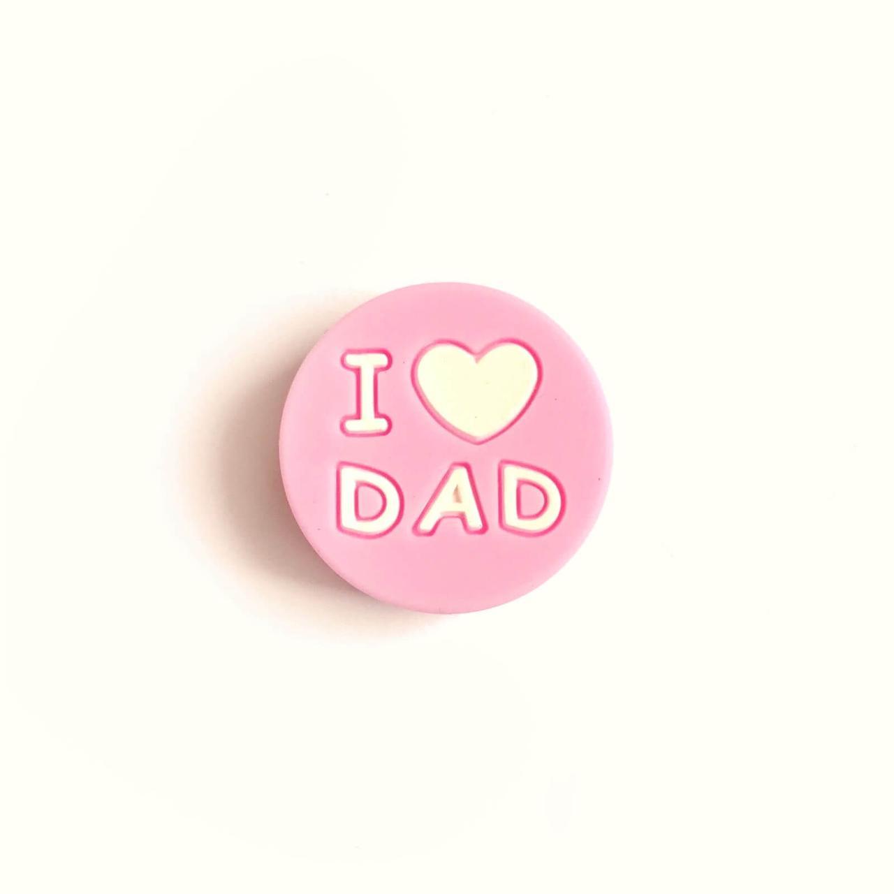 I LOVE DAD (пейл пинк) силиконовые бусины