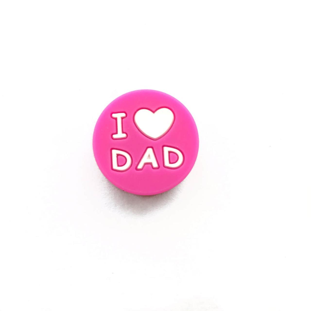I LOVE DAD (малина) силиконовые бусины