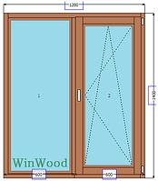 Окна деревянные со стеклопакетом (открыто, закрыто, проветривание и микропроветривание) ОК1