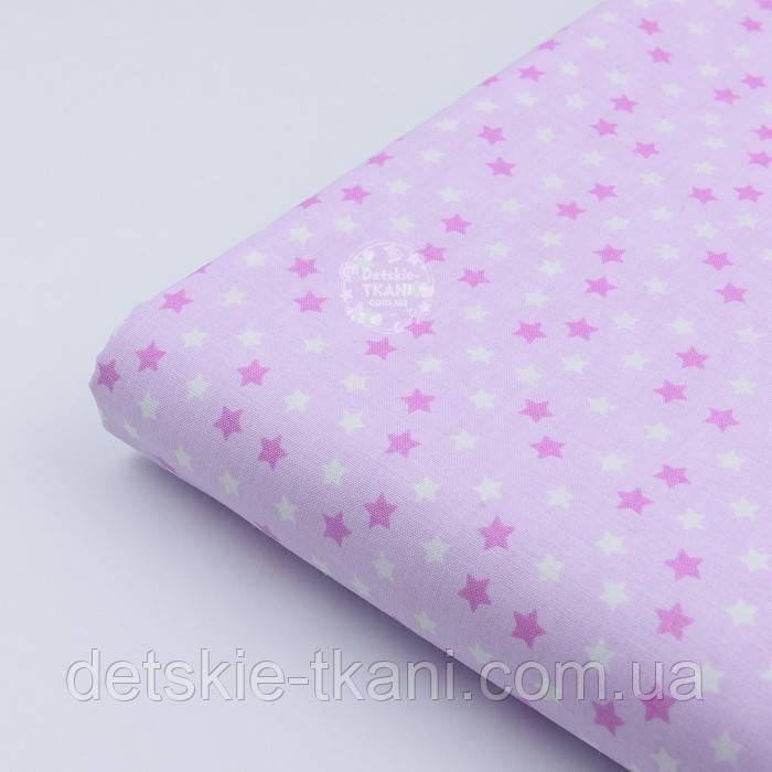 """Отрез ткани """"Мелкие звёздочки"""" бело-сиреневые, №1970, размер 60*160 см"""