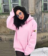 UQS Женские Худи Оверсайз БЕЗ ПРЕДОПЛАТЫ. Розовый пудра цвет, утепленные с начесом