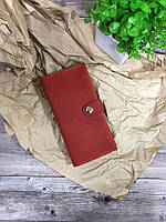 Портмоне ручной работы из натуральной кожи. Красный цвет. Кожаный кошелёк. Клатч на кнопке