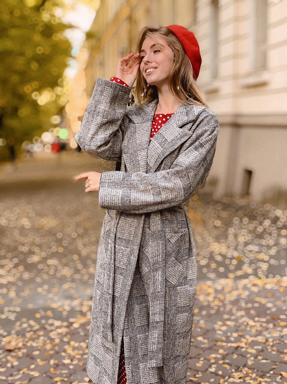 Шерстяное женское Пальто в клетку на запах с поясом 60pt241