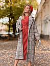 Шерстяное женское Пальто в клетку на запах с поясом 60pt241, фото 3