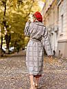 Шерстяное женское Пальто в клетку на запах с поясом 60pt241, фото 4