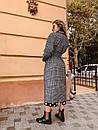 Шерстяное женское Пальто в клетку на запах с поясом 60pt241, фото 6
