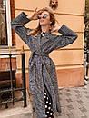 Шерстяное женское Пальто в клетку на запах с поясом 60pt241, фото 7