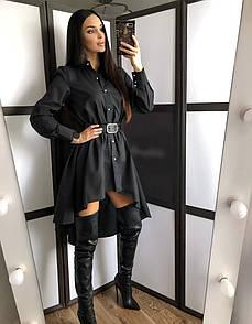 Коттоновое платье рубашка с пышной юбкой и длинным рукавом 20py252